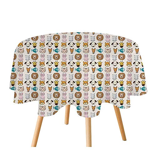 C COABALLA Baby Polyester Round Tablecloth,Caricature Style Children Animal Portraits Bunny Puppy Kitty Leon Dog Hippo Print Decorative for Home Restaurant,55.1