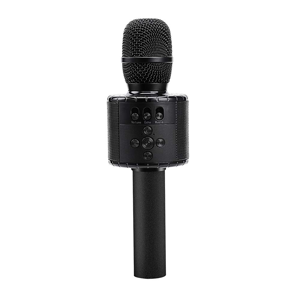 Verkstar Upgraded Wireless Bluetooth Karaoke Microphone with Controllable Colorful LED Lights, Portable Handheld Speaker Mic Machine Gift for Birthday/Graduation/Party/family for Phone/iPad/PC(black)