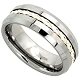 8mm Tungsten 900 ™ Wedding Ring Sterling Silver Rope Inlay Beveled Edges Comfort fit, sizes 7 - 14
