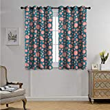 Pale Pink Customized Curtains Drops and Round Splash of Bubble Gum on Blue Background in Cartoon Style Blackout Drapes W72 x L45(183cm x 115cm) Petrol Blue Coral