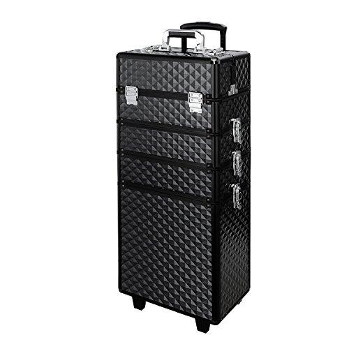 Qivange Makeup Train Case,4 in 1 Professional Rolling Makeup Trolley Case Aluminum Artists Jewelry Cosmetic Storage Case/w 2 Wheels(Diamond Black) by Qivange (Image #1)