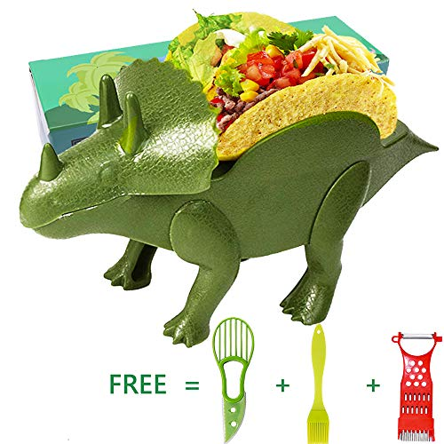 Prehistoric Tools - Humorous.P Taco Holder The Ultimate Prehistoric Taco Stand for Taco Tuesdays and Dinosaur kichen Tool Kids Gifts,1PC Dinosaur Taco Holder,1PC Grater, 1PC Sauce Brush, 1PC Avocado Knife