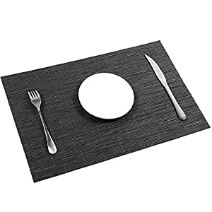 Placemats, U'Artlines Heat-resistant Placemats Stain Resistant Anti-skid Washable PVC Table Mats Woven Vinyl Placemats, Set of 6 (6pcs placemats, B black)