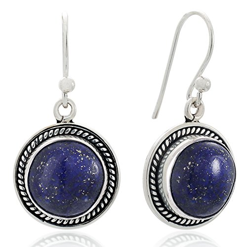 925 Sterling Silver Natural Blue Lapis Lazuri Gemstone Rope Edge Round Dangle Hook Earrings (Lapis Rope Earrings)