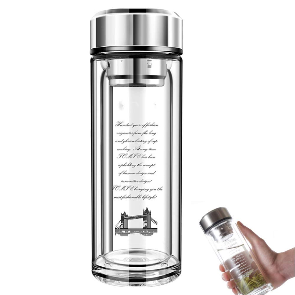 TTPF Double-Layer Hollow Glass Bottle Adjustable Detachable Leak-Proof Filter Thickened Crystal Base 360Ml Suitable for Leading Elderly Parents Gifts by TTPF