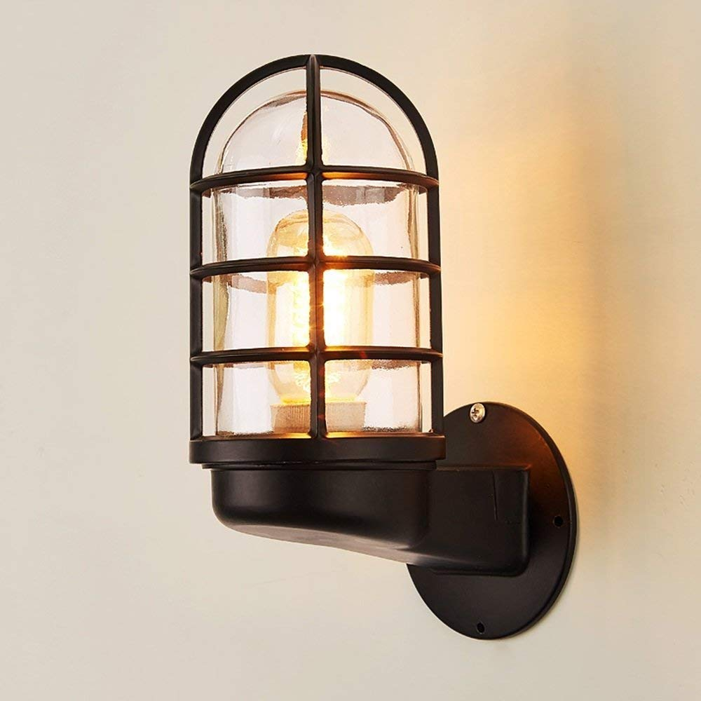 WHKHY The Bedchamber Bedside Lamp Lamp Wall Modern Lounge, Simple Staircase Corridor Electric Light Bulbs,Black