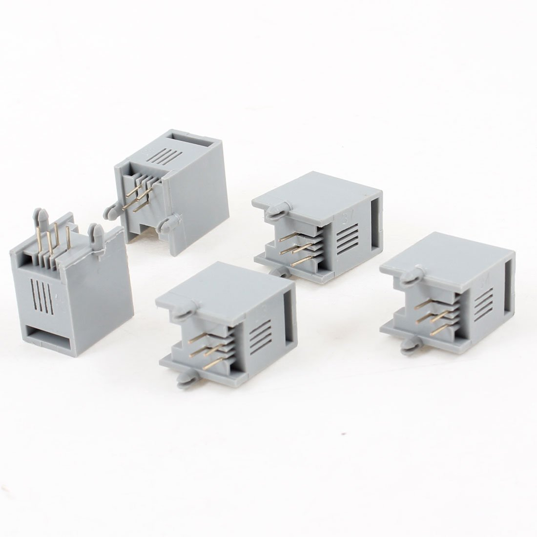 4 Pcs Unshielded RJ9 4P4C 4 Round Pin Network Modular PCB Connector Jacks Gray