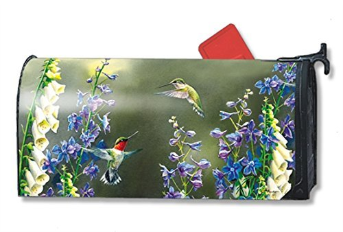 - Hummingbird Garden Spring Magnetic Mailbox Cover Floral Birds Oversized Designed by Yerkes