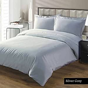 100% Egyptian cotton Duvet Set 600 Thread Count Solid Queen, Silver Grey Created By Linen Delux