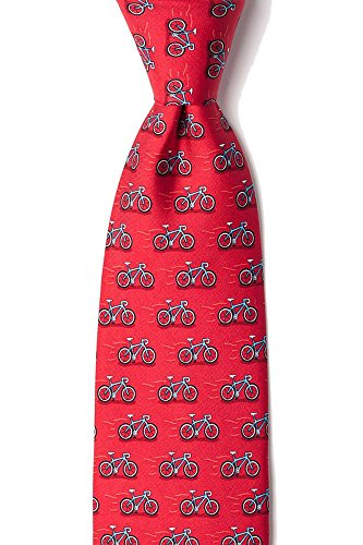 Novelty Silk Alynn Ties Red (Men's HIpster 100% Silk Red Cycling Bike Bicycles Tie Necktie)