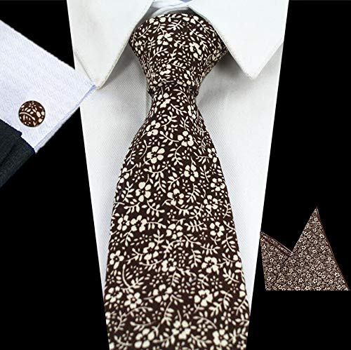 Olwen Shop Ties & Handkerchiefs - Mens New 8cm Classic Cotton Ties Fashion Retro Floral Ties Colorful Printed Party Neck Ties Pocket Square Cufflinks Set ()