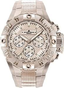 JACQUES LEMANS Powerchrono 2008 1-1377 I - Reloj de caballero de cuarzo, correa de acero inoxidable, color rosa-dorada