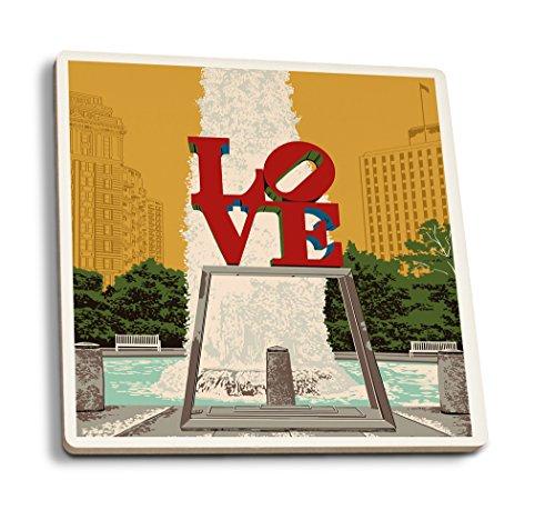 Philadelphia, Pennsylvania - Love Statue - Letterpress (Set of 4 Ceramic Coasters - Cork-Backed, ()