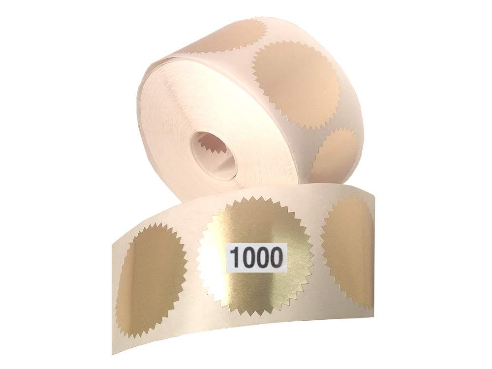 Gold Legal Embossing Labels, Metallic Foil Stickers, 2'' Starburst Serrated Edge Seals, (Awards, Crafts, Envelopes, Notary Embossing) ROLL of 1000