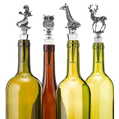 Homestia Wine and Beverage Bottle Stopper Stainless Steel with Giraffe Top Reusable