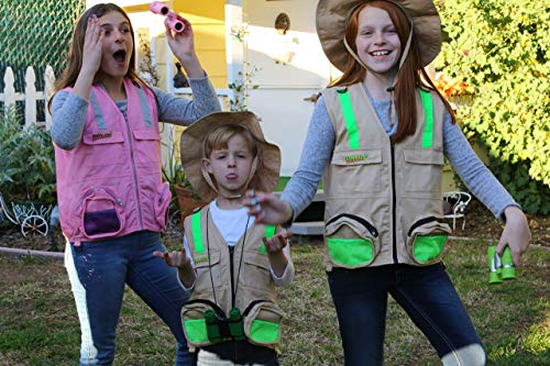 M/L Combination Set: 1 Tan Cargo Vest for Kids with Reflective Safety Straps - 1 Floppy Bucket Hat with Chin Strap - 1 8x21 Power Binoculars with Soft Rubber Eye Piece, Waterproof & Shcok-Resistant by Eagle Eye (Image #8)