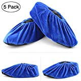 Wispun 5 pairs Washable thick non-slip bottom shoe covers velvet shoes cover Reusable Shoe Covers for Household,Office,Machine Room and Realtors(Royal blue)
