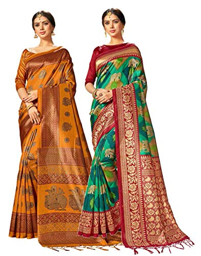 Pack of Two Sarees for Women Mysore Art Silk Printed Indian Wedding Saree | Diwali Gift Sari