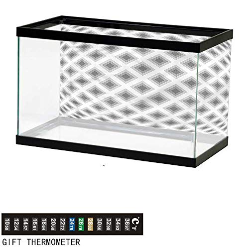 bybyhome Fish Tank Backdrop Grey,Squares Optic Illusion Effect,Aquarium Background,36