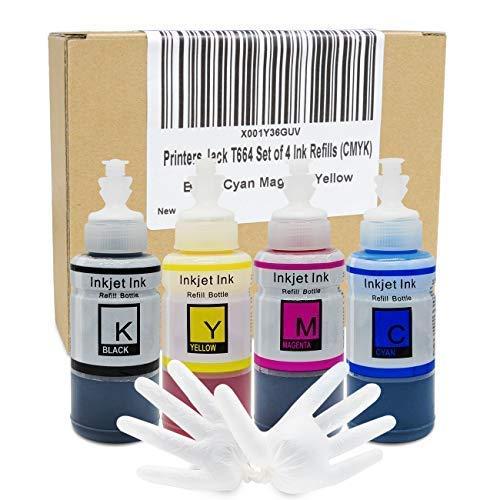 Set Refill Ink (Printers Jack Refilled Ink Bottle Set Replacements for Epson ET-2650, ET-2550, ET-4550, ET-2600, ET-3600 (T664 T774 Ink 4 Pack))