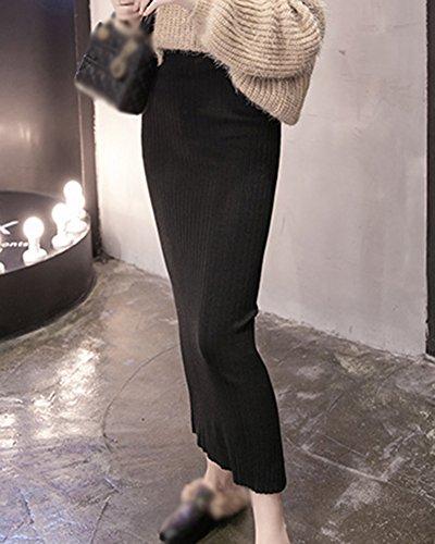 Jupe Femme Longue Haute Taille Casual Longue Moulante Elastique Jupe Bodycon Noir