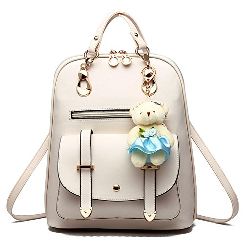 Bag Backpack PU Travel Bear Gift Sweet Christmas College Girls White Outdoor School with Leather Decoration S8xfvvEYn