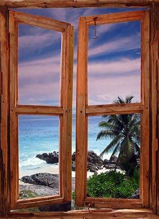 Blick aus dem fenster meer  ART FEVER Abziehen & Aufkleben Fenster Szene Wandtattoo ...