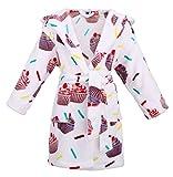 Girls Hooded Printed Flannel Fleece Bathrobe Girls Robe with Pockets,Cupcakes,XL