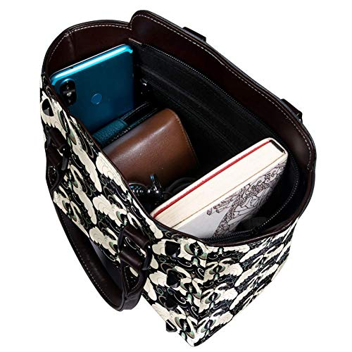 Nananma Schultertasche mit Tragegriff für Damen, Leder, mit Art-Deco-Muster, Umhängetasche, Schultertasche