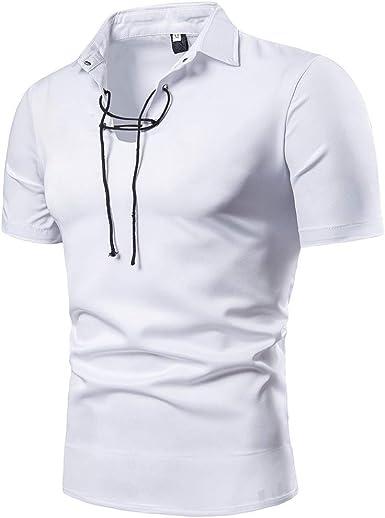 Leedy - Camisa de Manga Corta para Hombre con Cuello Alto y Manga Corta Blanco S: Amazon.es: Ropa y accesorios