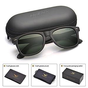 Mens Wayfarer Polarized Sunglasses for Womens UV 400 Protection Grey Green Lens Matte Black Frame 54MM