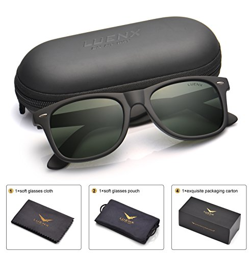 Matte Black Frame Green Lenses - LUENX Mens Wayfarer Polarized Sunglasses for Womens UV 400 Protection Grey Green Lens Matte Black Frame 54MM