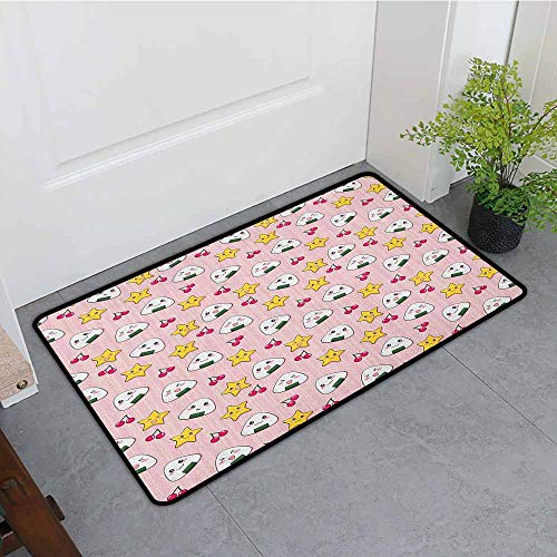 (ONECUTE Crystal Velvet Doormat,Anime Funny Pattern with Japanese Rice Balls Cherries and Stars Childish Food Cartoon Print,Customize Door mats for Home Mat,31