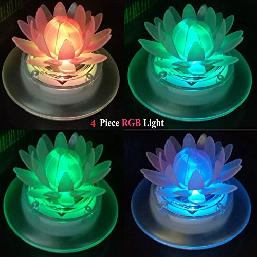 pearlstar Solar Floating Lights Waterproof LED RGB Floating Night Lights for Swimming Pool or Pond Decoration (4Pcs Lotus)