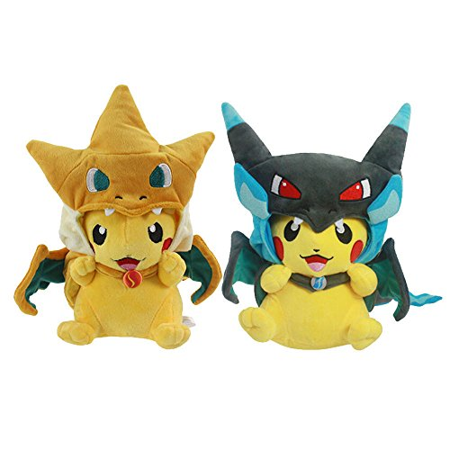 Set-of-2-Pikachu-Mega-Charizard-X-Y-Cape-Pokemon-Plush-Toy-9-Inches-USA-Seller-Cute-Cuddly-Pikachu-Toys