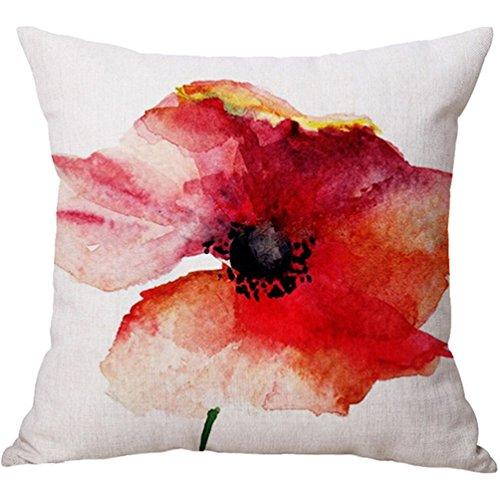Colorful Hand Draw Flower Watercolor Art Design Unique Cotton Linen Home Decorative Cushion Cover Throw Pillow Case 18x18 inch - Linen Colorful