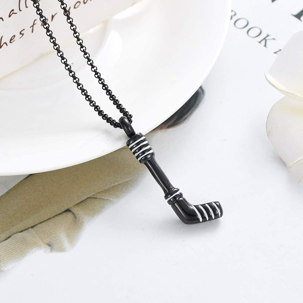 Metal Color: Silver, Main Stone Color: 3pcs Pendant Davitu K9347 Hockey Stick Cremation Jewelry for Ashes Pendant Holder Urns Pet//Human Stainless Steel Memorial Necklace for Men//Women