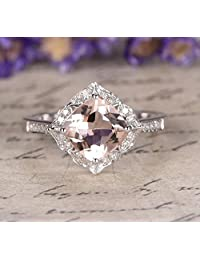 Limited Time Sale: 1.25 Carat Peach Pink Morganite (cushion cut Morganite) and Diamond Engagement Ring in 10k White Gold
