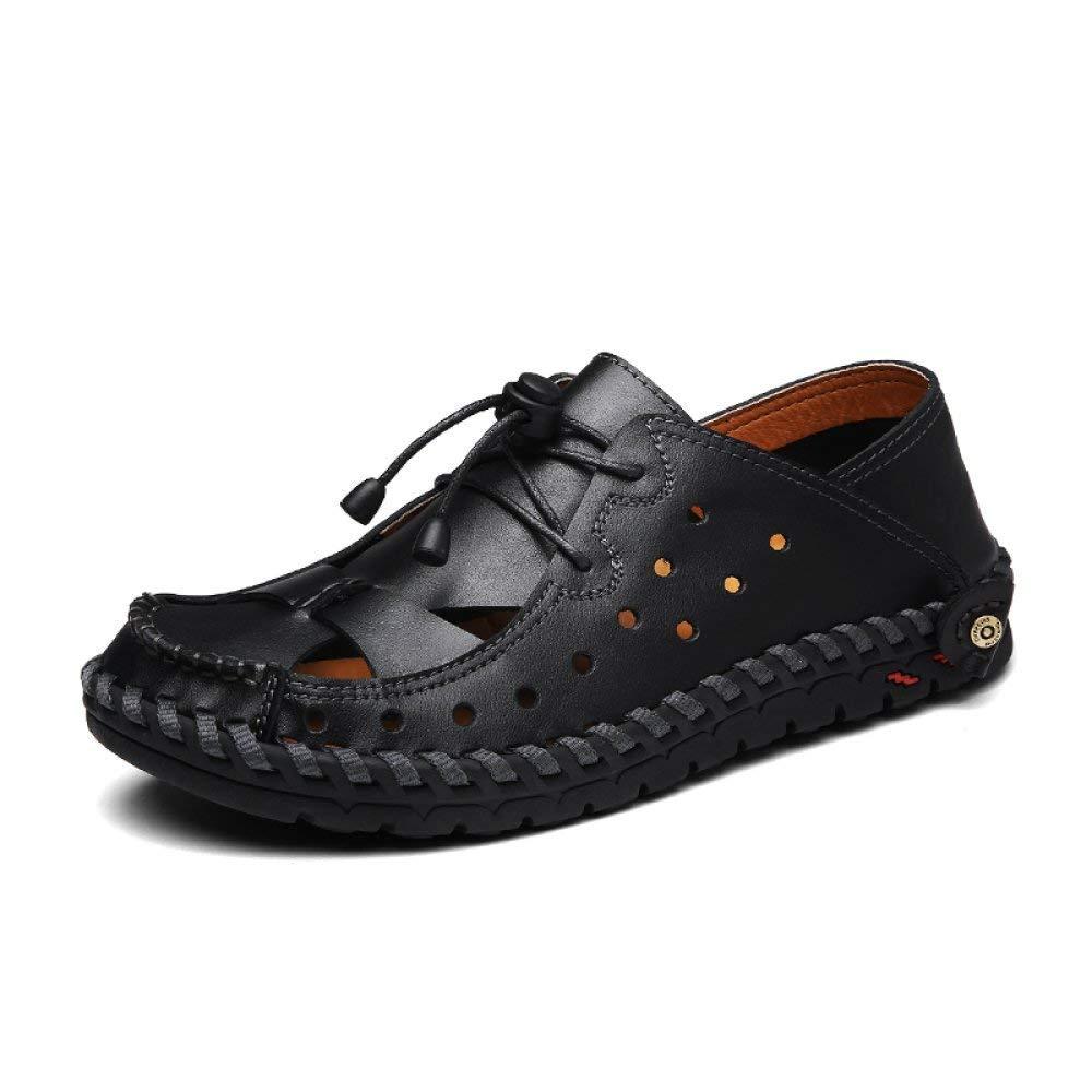 Fuxitoggo Sommer Lederschuhe Kopf mit hochhackigen Schuhen mit Einer Schnalle hohlen Damenmode Sandalen weiblich (Farbe   Schwarz Größe   39)