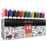 Arteza Dry Erase Markers, White Board Pens, 12 Colors, Multicolor, Set of 48