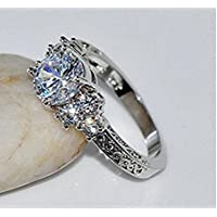 Sumanee Diamond White Sapphire Wedding Ring 10KT silver Jewelry Size 6-10 (6)