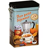 BON PETIT DEJEUNER - Classic French Retro Vintage Style - Rectangular Coffee Tin / Tea Caddy / Kitchen Storage Tin/Canister - hermetically sealed by Buzz