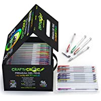 Crafty Croc Gel Pens Coloring Set - Glitter, Neon, Metallic, White with No Duplicates, Set of 96 Unique Colors with Artist Comfort Grips