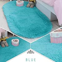 Ustide Velvet Modern Living Room Carpet Turquoise High Pile Bedroom Rug Fuzzy Soft Area Rug Anti-Slip Floor Runner Rugs Yoga/Sofa Rug