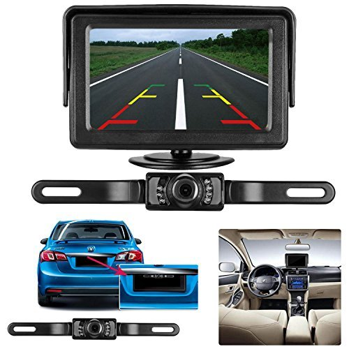 AMTIFO A2 HD 1080P Car Backup Camera with 4.3 Inch Monitor,Easy Installation System for Cars,Trucks,SUVs,Vans,LED Lights Clear Night Vision,DIY Guide Lines