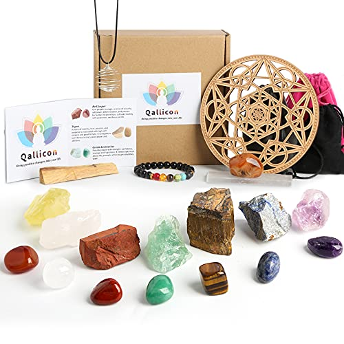 Healing Crystals Set, Qallicon 20PCS Chakra Crystals Kit Include 7 Raw & Tumbled Chakra Stones, Lava Bracelet, Selenite, Cage Necklace, Palo Santo, Banded Agate, Crystal Grid for Meditation, Yoga.