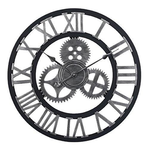 HYZH 60CM 23.6 Zoll Lautlos Wanduhr Uhr Ohne Tickgeräusche Wanduhr Groß XXL-Silber