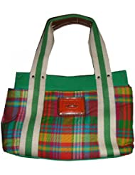 Tommy Hilfiger Womens Iconic Tote, Small, Green Plaid