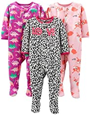 Simple Joys by Carter's Baby-Girls 3-Pack Loose Fit Flame Resistant Fleece Footed Paj