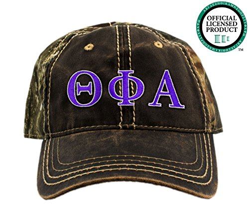Theta Phi Alpha Embroidered Camo Baseball Hat, Various Thread Colors